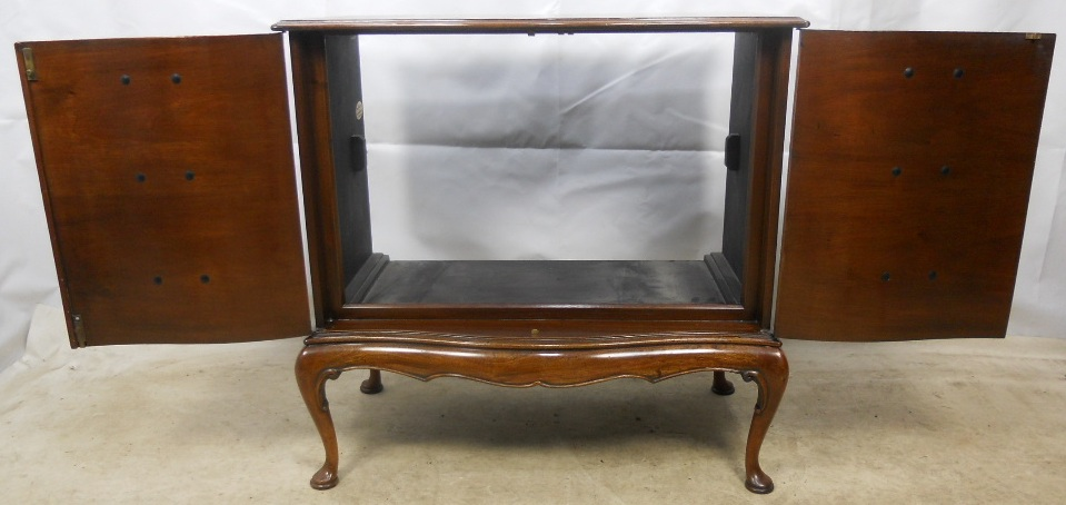 Georgian Style Mahogany Two Door Shaped Front Tv Cabinet Sold